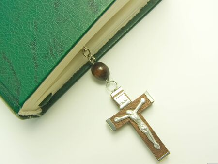 interrupted: bible with rosary, interrupted prayer Stock Photo