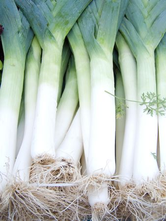 pungent: fresh vitamin spring onions leek healthy vegetable meal Stock Photo