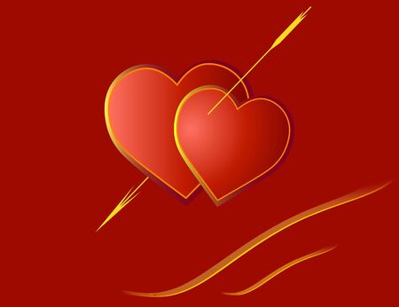 the enamoured: Red enamoured hearts with gold furnish