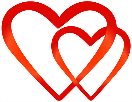Two hollow bound red hearts Vector