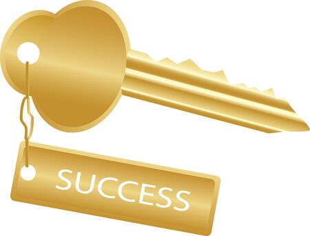 golden key to success on a white, vector photo