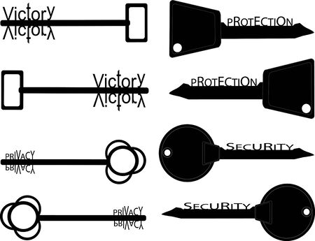 latchkey: Silhouettes of different style keys - vector illustration