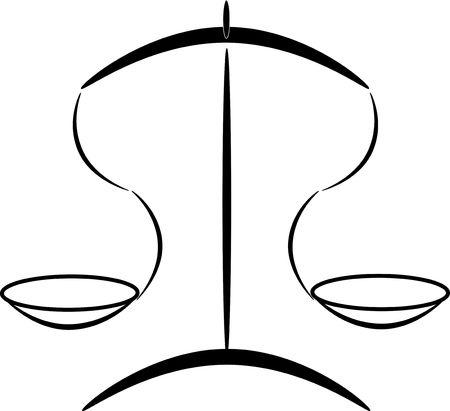 balanza de laboratorio: silueta gr�ficos de vectores que representan la escala de medici�n (o un concepto: la justicia)