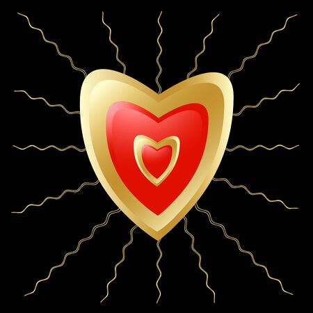 Heart with beams, gold on a black background photo