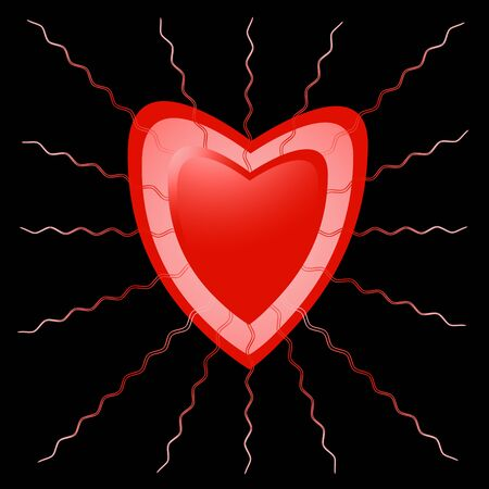 Heart with beams red on a black background photo