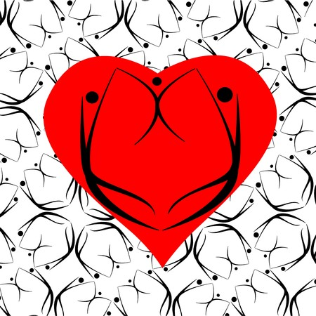 stylized image of a man, woman and child on the background of the heart Фото со стока - 4172331
