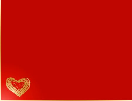 Valentine's card wiht gold heart and red background Stock Photo - 4190316