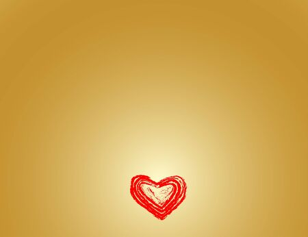 Valentine's card wiht red heart and gold background Stock Photo - 4190318