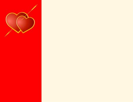 Valentine's card wiht red hearts and arrow of the Cupid Stock Photo - 4190314