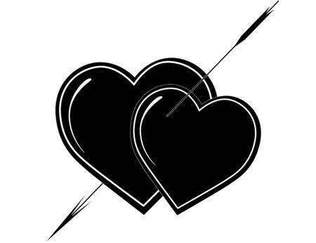 Valentine's card black and white, tattoo Stock Photo - 4190319