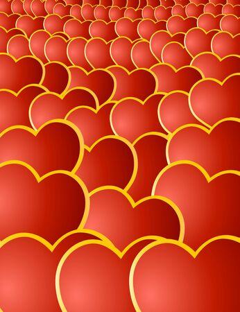 Valentine's card wiht red hearts Stock Photo - 4190321