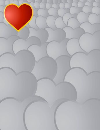 Valentine's card wiht red heart on a grey background Stock Photo - 4190320