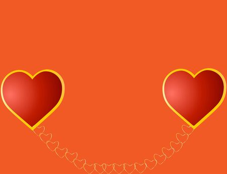 Valentine's card wiht red hearts connected with the gold chain Stock Photo - 4190317
