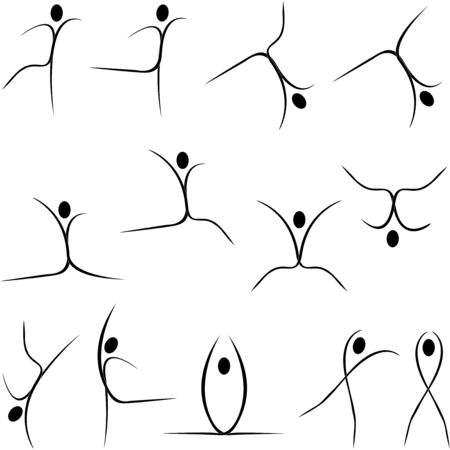 the stylized image of the dancing in the different styles figures of the people