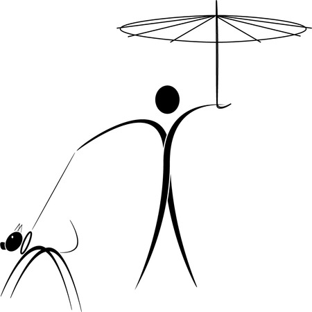 man at the walk with the dog, under the umbrella