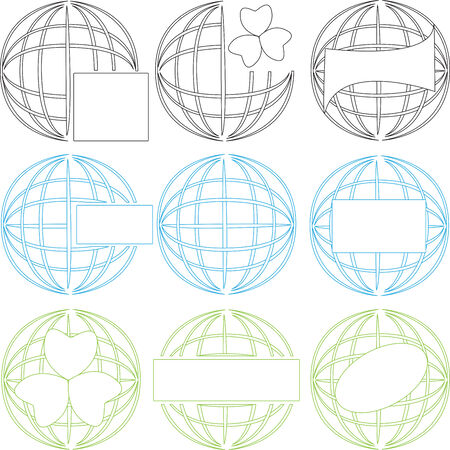 Stylized image of the terrestial globe as billet for the firm signs