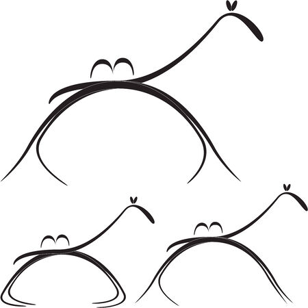 stylized image of camel in the different poses of motion and rest