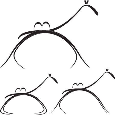 hump: immagine stilizzata del cammello nelle diverse pose di movimento e di riposo