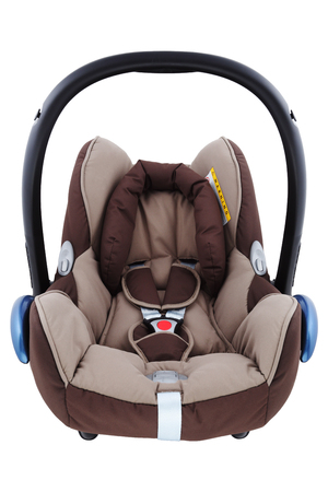 An isolated brown infant carrier and car seat photo