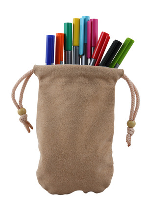 Colored pen in the bag Stock Photo