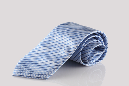 checkered tie close up on white background Stock Photo