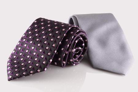 cuff link: neckties on white background Stock Photo