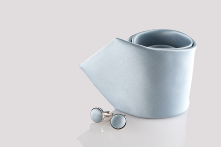 cuff: tie with cuff links on white background