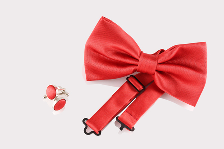 cuff links: red bow tie  with cuff links Stock Photo