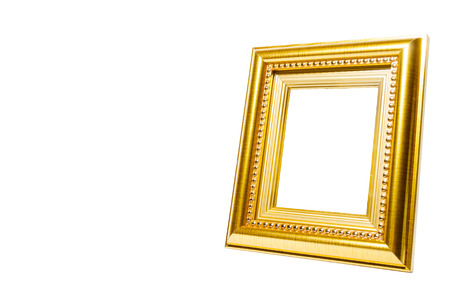Picture gold frame on the white background.