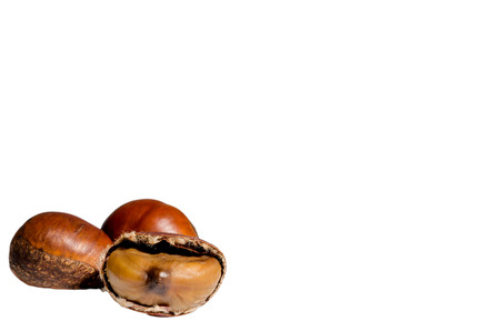 Chestnut seeds on a white background