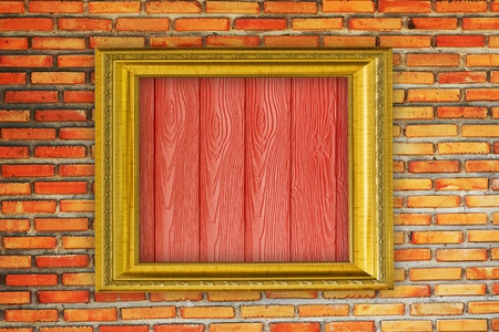 Golden Frame on old brick wall Stock Photo - 14657702