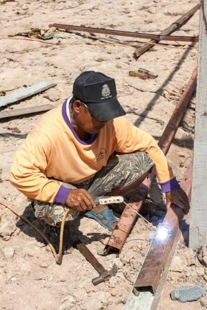 Sakon Nakhon, Thailand - September 19  Worker welding steel Burma on September 16, 2011 in Sakon Nakhon, Thailand  Stock Photo - 15318250
