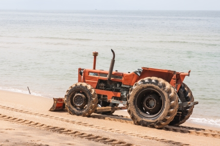 The preparation of the beach for the summer season, photo