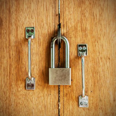 Closed wood lock door security photo