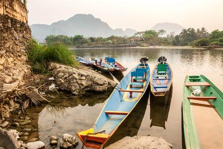 River in Laos Vang Vieng Landscape Boat park at riverside