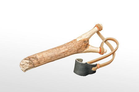 Catapult sling on isolated white