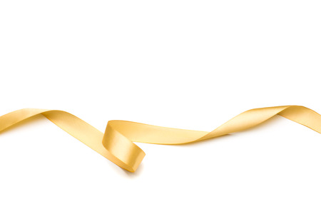 golden satin ribbon isolated on white background