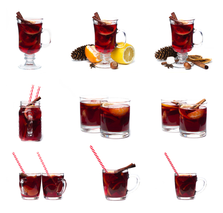 mulled wine with spices isolated on white background. Winter alcoholic cocktail. Christmas drink
