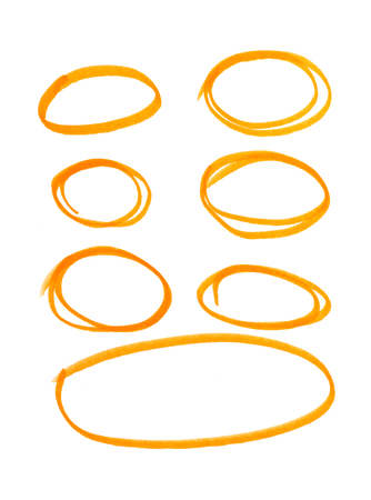 orange highlighter circles on white background