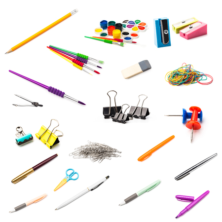 Stationery set on white background