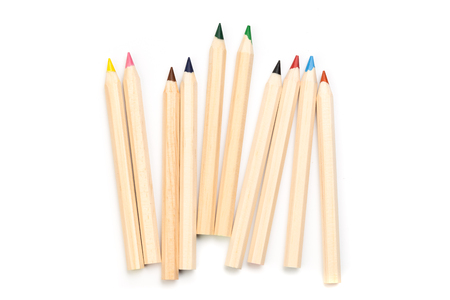 Wooden colorful ordinary pencils isolated on a white background, Image