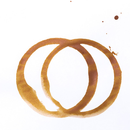tee or coffee cup rings isolated on a white background