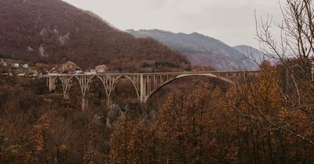 view of Djurdjevica bridge over the river Tara in Montenegro, Europe. Beautiful world of Mediterranean countries. Aerial panorama. - Image 写真素材