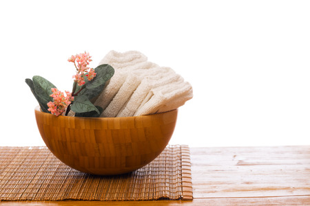 Spa still life with flower and towel. - Image