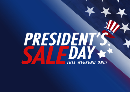 Presidents Day Sale banner with american flag and stars background Stock Photo
