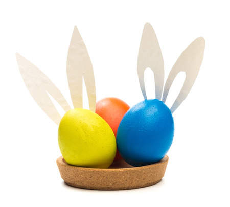 easter eggs with bunny ears  isolated on white