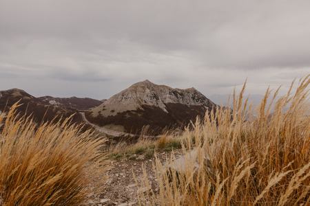 Panoramic view of the highest peaks of the Lovcen mountain national park in southwestern Montenegro. - Image