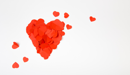 Heart consisting of a multitude of hearts with space for text. Stockfoto