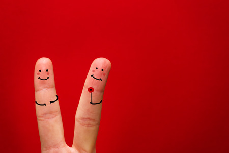 Painted finger smiley, valentine's day theme - Image Banco de Imagens - 122561307