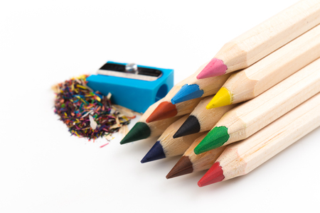 Wooden colorful pencils isolated on a white background, pencil sharpeners Stockfoto